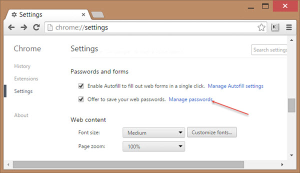 Where in Google Chrome Can I view my Stored Passwords?